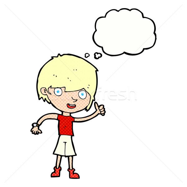 Cartoon ragazzo atteggiamento positivo bolla di pensiero mano uomo Foto d'archivio © lineartestpilot