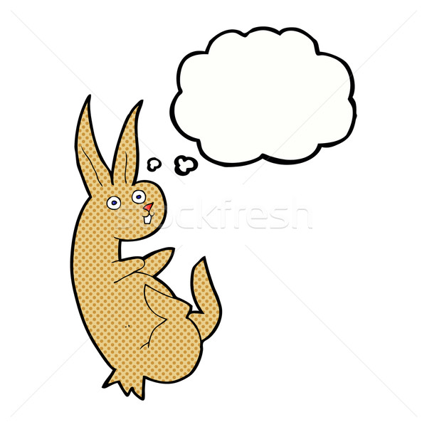 cue cartoon rabbit with thought bubble Stock photo © lineartestpilot