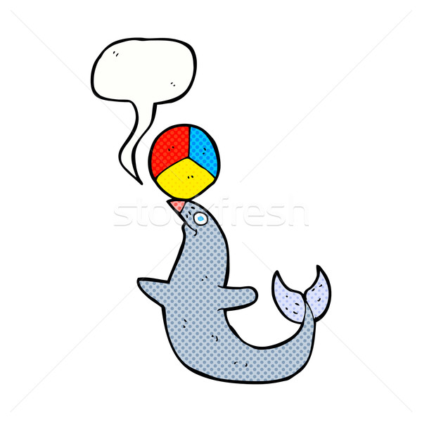 cartoon performing seal with speech bubble Stock photo © lineartestpilot