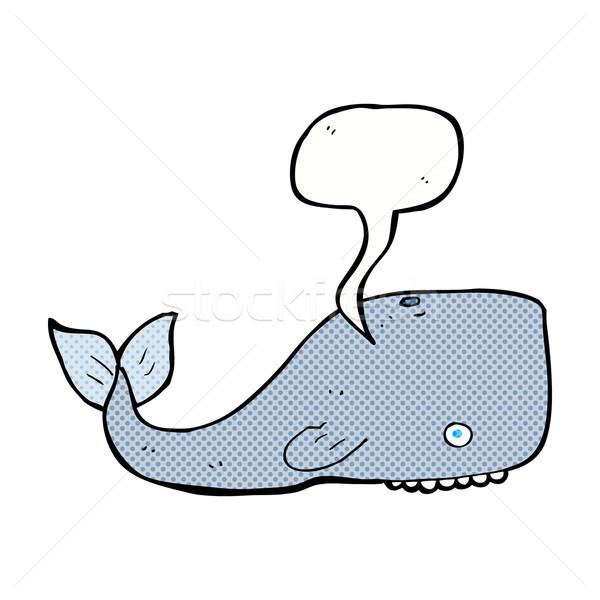 Rajz bálna szövegbuborék kéz terv művészet Stock fotó © lineartestpilot