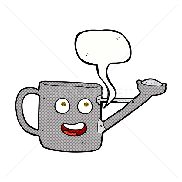watering can cartoon with speech bubble Stock photo © lineartestpilot