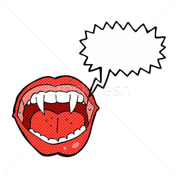 Desenho animado vampiro boca balão de fala mão projeto Foto stock © lineartestpilot