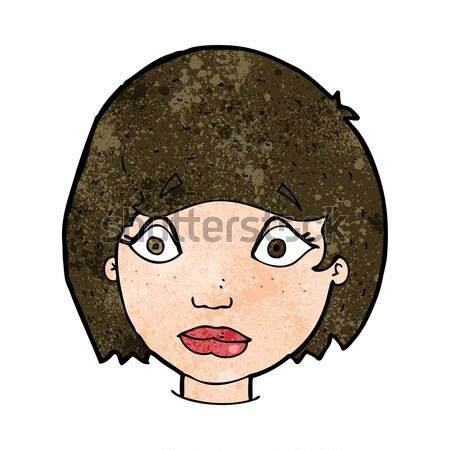Komik karikatür rahatsız kadın yüz Retro Stok fotoğraf © lineartestpilot