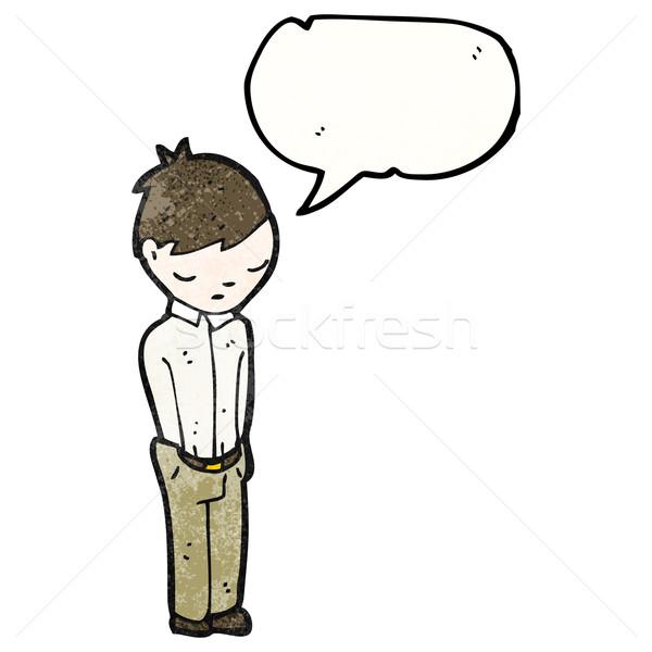 Karikatür utangaç adam Retro çizim erkek Stok fotoğraf © lineartestpilot