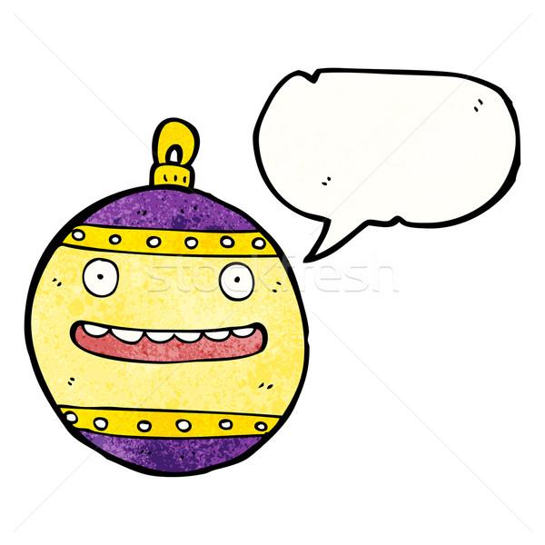 Karikatür Noel önemsiz şey konuşma balonu Retro çizim Stok fotoğraf © lineartestpilot