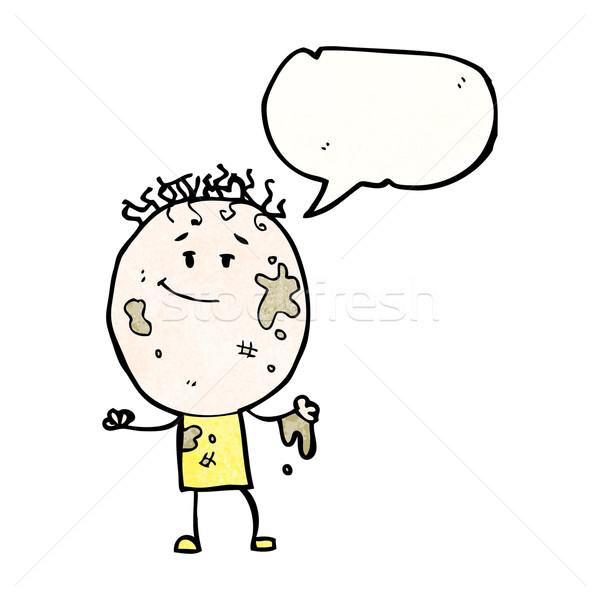 Desen animat plin de noroi băiat retro textură izolat Imagine de stoc © lineartestpilot