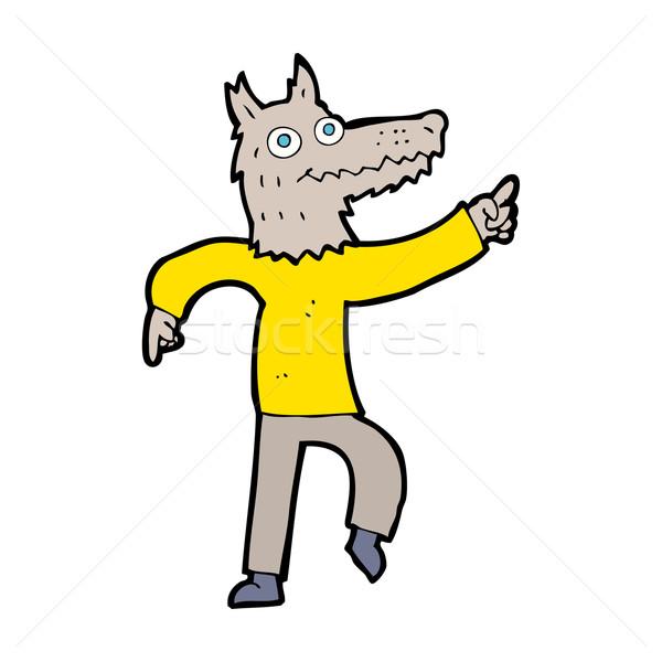 Cartoon волка человека дизайна искусства ретро Сток-фото © lineartestpilot