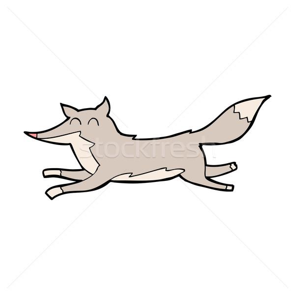 Cartoon courir loup design art rétro Photo stock © lineartestpilot