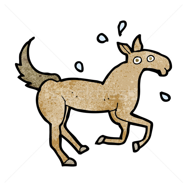 Cartoon cheval transpiration main design art Photo stock © lineartestpilot