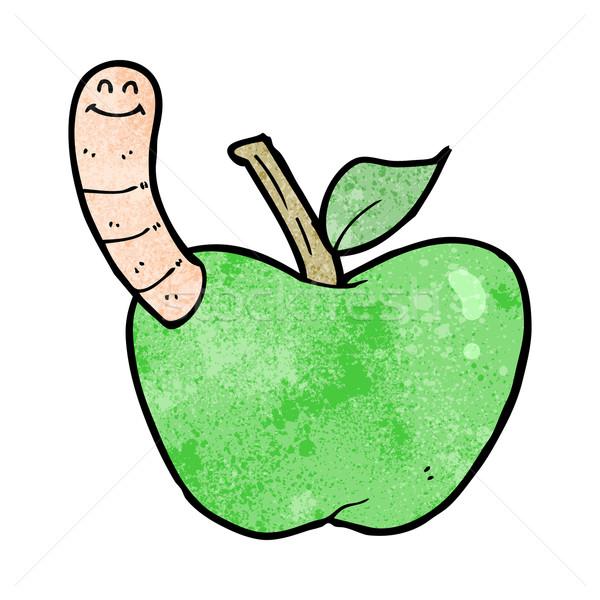 Foto stock: Desenho · animado · maçã · verme · mão · projeto · louco