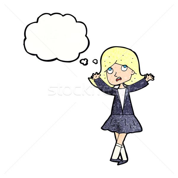 Cartoon nieszczęśliwy dziewczyna bubble myśl strony projektu Zdjęcia stock © lineartestpilot