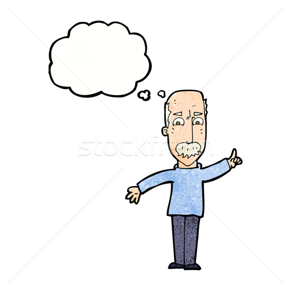 cartoon man issuing stern warning with thought bubble Stock photo © lineartestpilot