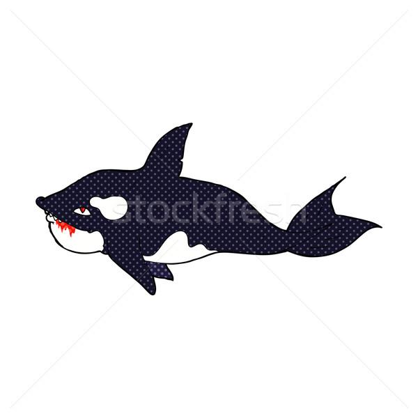 Cômico desenho animado assassino baleia retro Foto stock © lineartestpilot