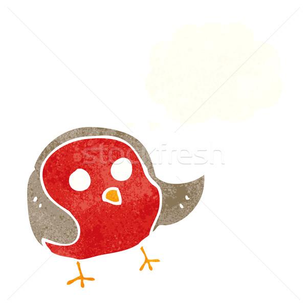 Desenho animado balão de pensamento mão projeto pássaro louco Foto stock © lineartestpilot