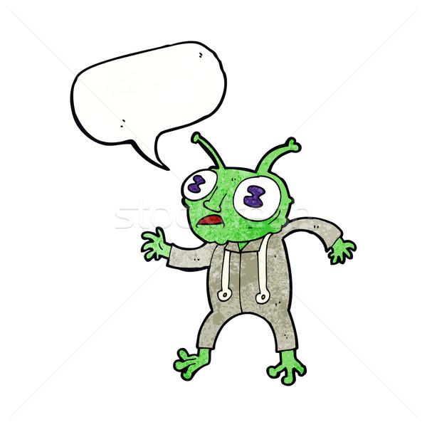 cartoon alien spaceman with speech bubble Stock photo © lineartestpilot