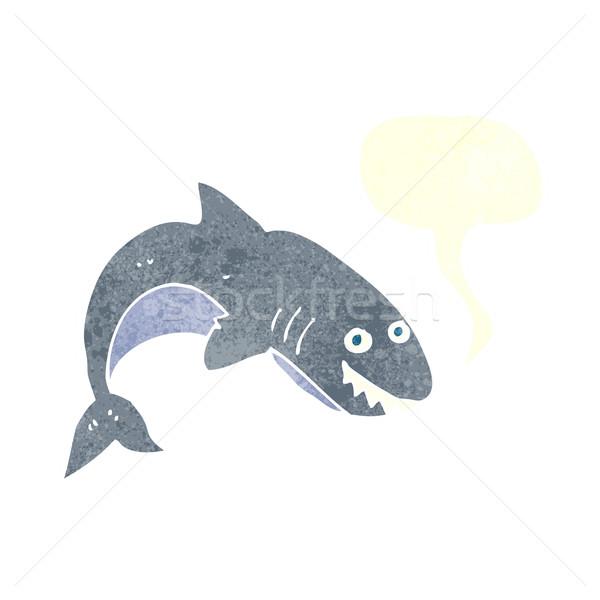 Rajz cápa szövegbuborék kéz terv művészet Stock fotó © lineartestpilot