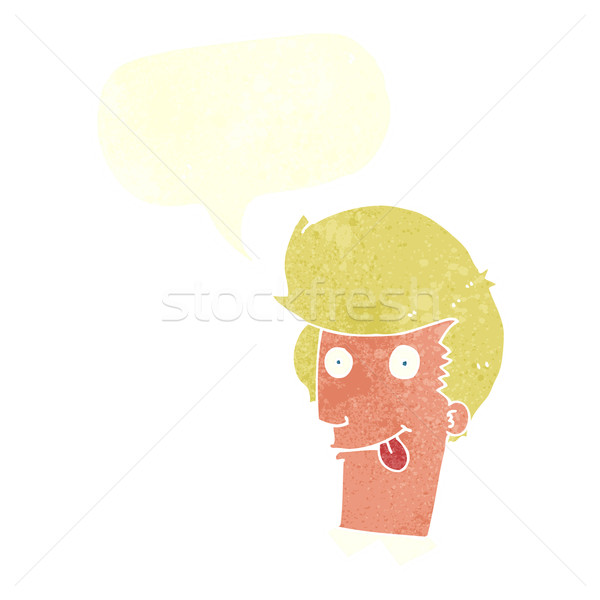 cartoon man with tongue hanging out with speech bubble Stock photo © lineartestpilot
