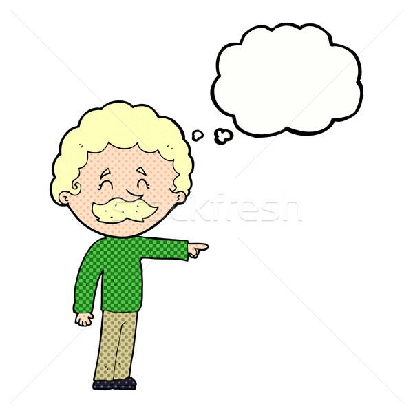 Cartoon homme moustache pointant bulle de pensée main Photo stock © lineartestpilot