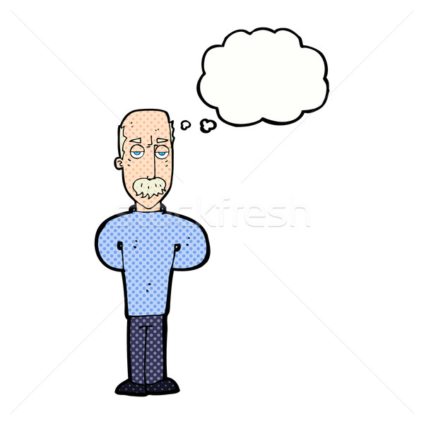 Stock photo: cartoon annoyed balding man with thought bubble