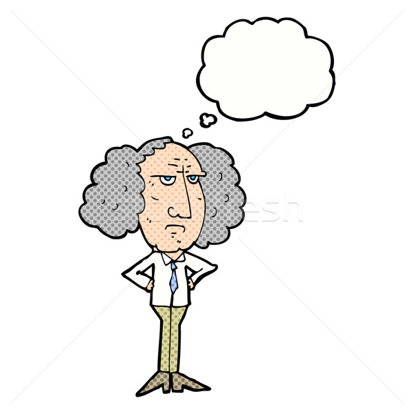 cartoon big hair lecturer man with thought bubble Stock photo © lineartestpilot