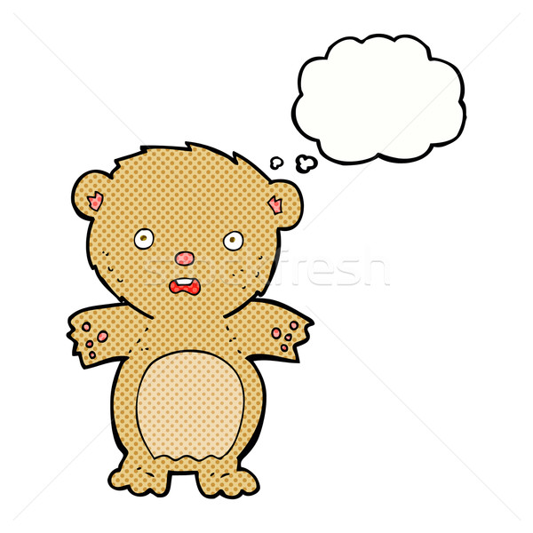 frightened teddy bear cartoon with thought bubble Stock photo © lineartestpilot