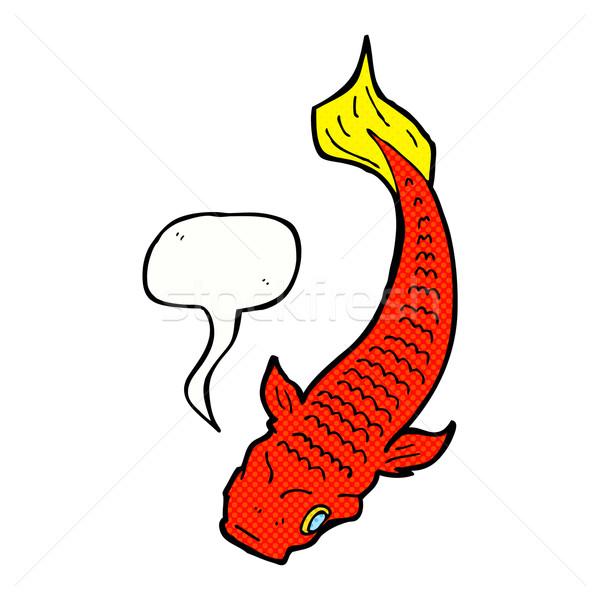 Cartoon vis tekstballon hand ontwerp dieren Stockfoto © lineartestpilot