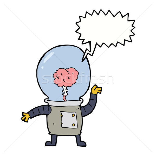 cartoon robot cyborg with speech bubble Stock photo © lineartestpilot