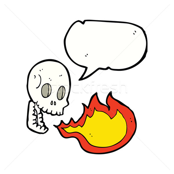 cartoon fire breathing skull with speech bubble Stock photo © lineartestpilot