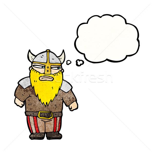 Desenho animado viking guerreiro falante retro pensando Foto stock © lineartestpilot