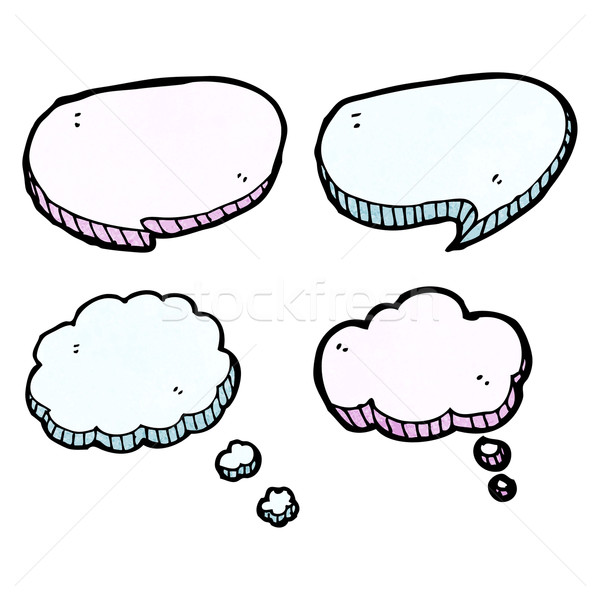 Cartoon pensamiento nubes hablar retro Foto stock © lineartestpilot