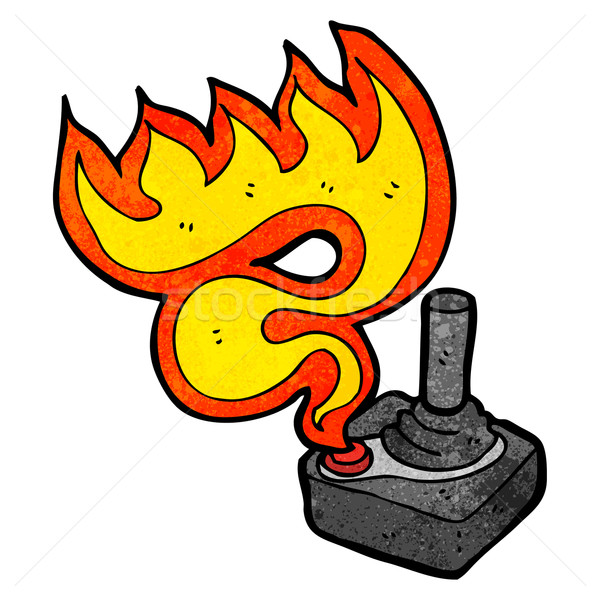 Karikatür joystick konuşma Retro çizim oyun Stok fotoğraf © lineartestpilot