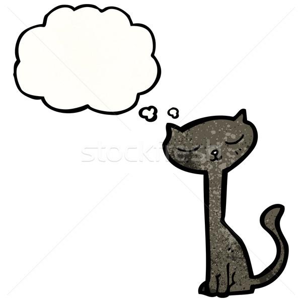 Desenho animado gato preto balão de pensamento gato arte retro Foto stock © lineartestpilot