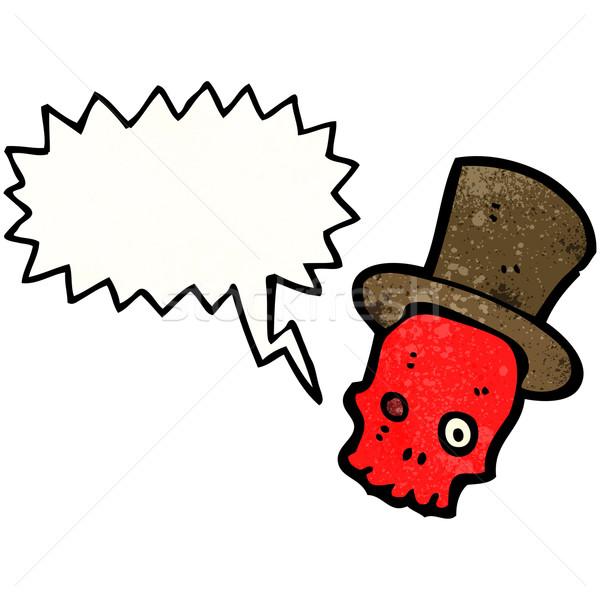 cartoon talking skull in top hat Stock photo © lineartestpilot