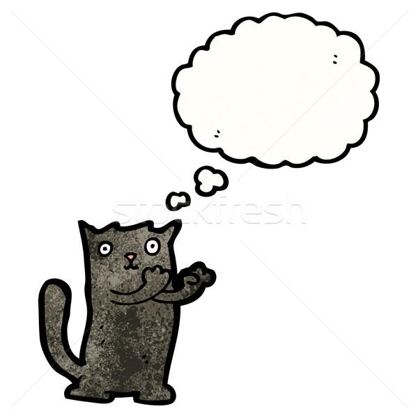 Stock fotó: Aranyos · rajz · fekete · macska · macska · retro · léggömb