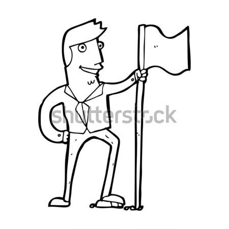 Cartoon taai man hand ontwerp gek Stockfoto © lineartestpilot