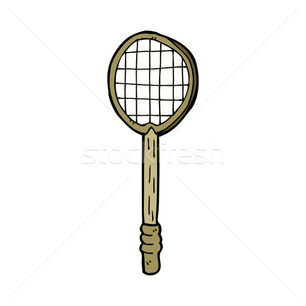 Cartoon oude tennisracket hand ontwerp tennis Stockfoto © lineartestpilot