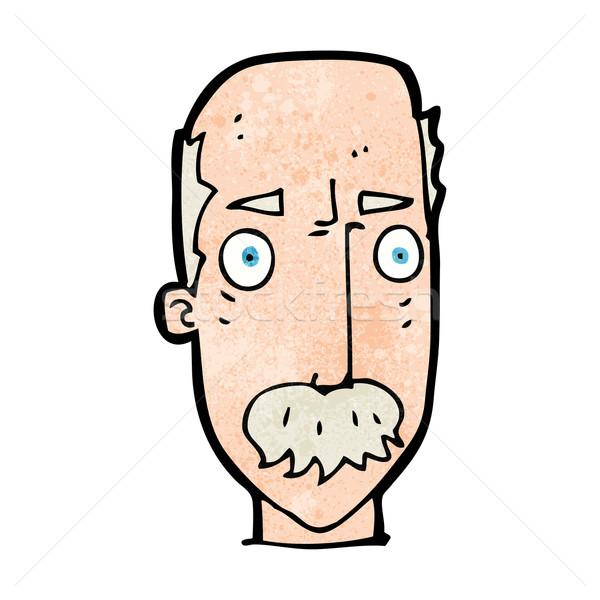 Cartoon agacé vieillard main visage homme Photo stock © lineartestpilot