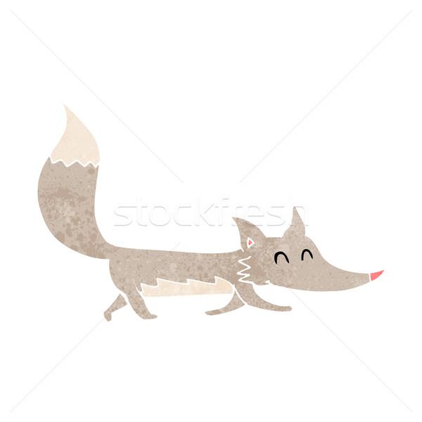 Cartoon мало волка стороны дизайна Crazy Сток-фото © lineartestpilot