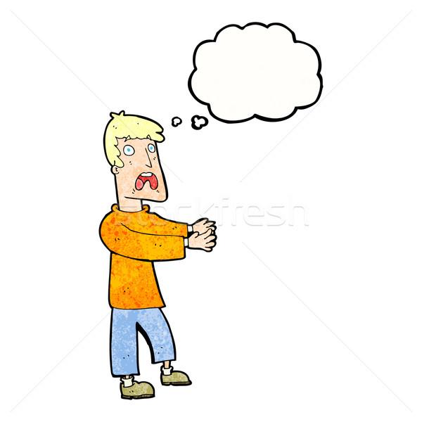 Cartoon испуганный человека мысли пузырь стороны дизайна Сток-фото © lineartestpilot