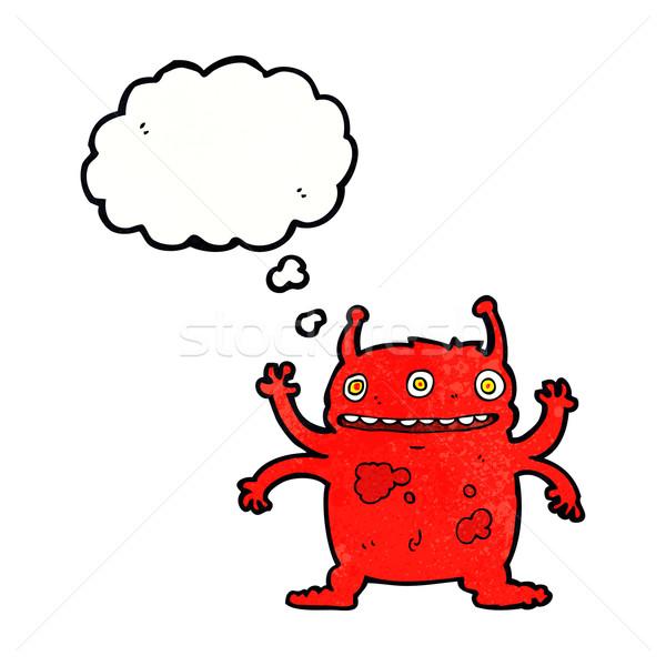 Cartoon vreemdeling monster gedachte bel hand ontwerp Stockfoto © lineartestpilot