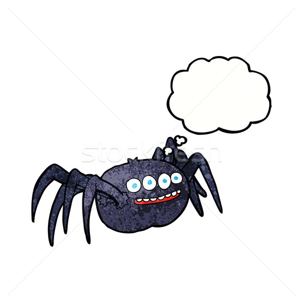 cartoon spooky spider with thought bubble Stock photo © lineartestpilot