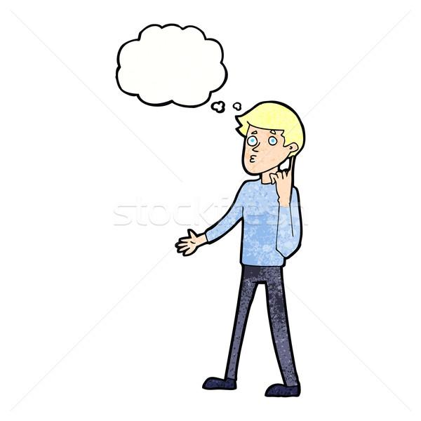 Desenho animado homem pergunta balão de pensamento mão Foto stock © lineartestpilot