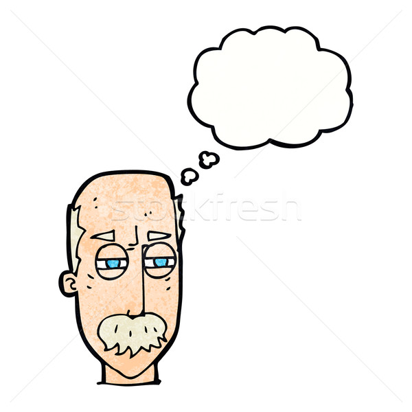 Cartoon agacé vieillard bulle de pensée main visage Photo stock © lineartestpilot