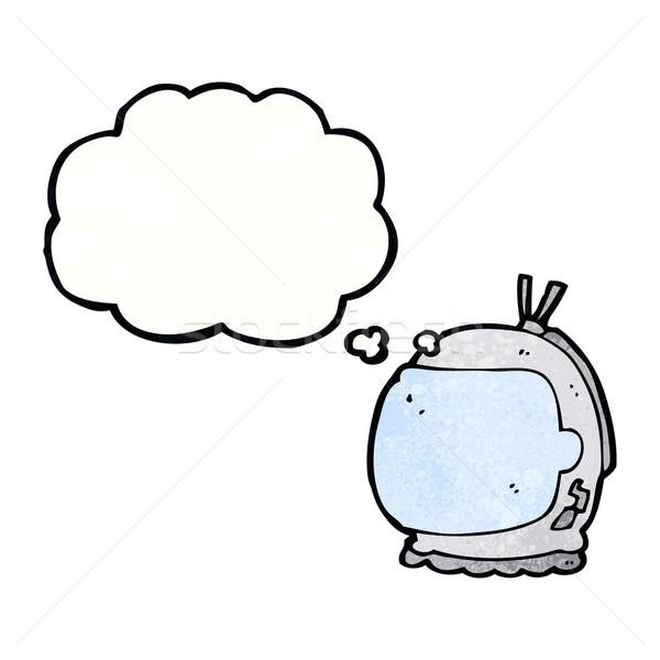 Desenho animado astronauta capacete balão de pensamento mão projeto Foto stock © lineartestpilot