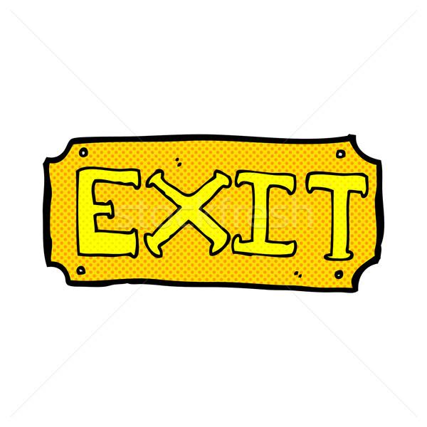 Comic Karikatur exit sign Retro Comic Stil Stock foto © lineartestpilot