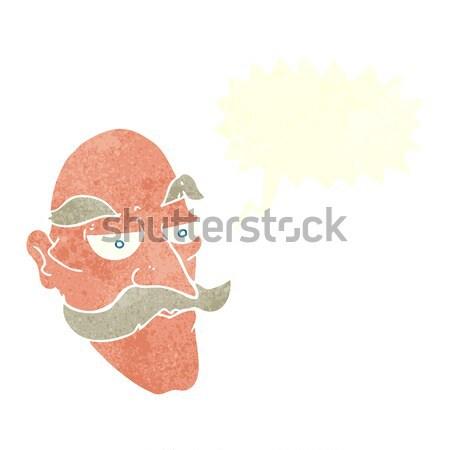 Rajz vigyorog férfi gondolatbuborék kéz arc Stock fotó © lineartestpilot