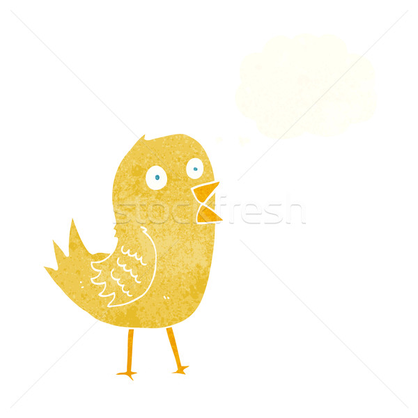 cartoon tweeting bird with thought bubble Stock photo © lineartestpilot