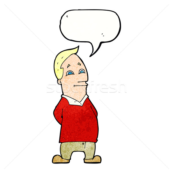 Cartoon vriendelijk man tekstballon hand ontwerp Stockfoto © lineartestpilot