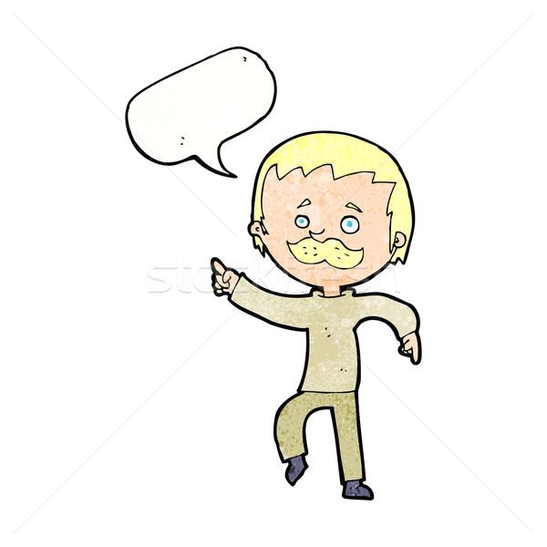 Cartoon человека усы указывая речи пузырь стороны Сток-фото © lineartestpilot