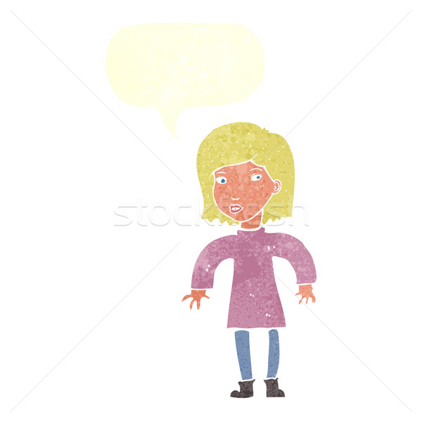 Rajz elővigyázatos nő szövegbuborék kéz terv Stock fotó © lineartestpilot